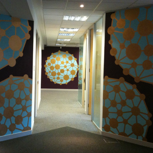 Office lobby mural - artwork by clement interiors