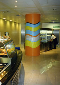 Painted columns to Reuters restaurant